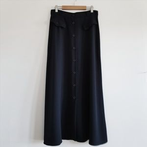 Vintage Navy Blue A Line Button Maxi Skirt